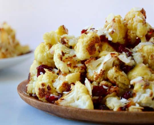 Roasted Cauliflower Salad with Lemon Dressing recipe on justataste.com