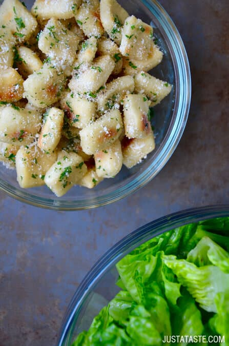 Baked Parmesan Garlic Pizza Dough Croutons Recipe on justataste.com