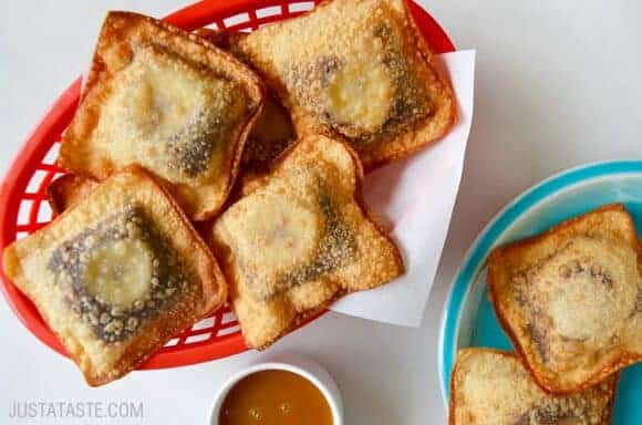 Takeout Recipes: Banana Chocolate Wonton Poppers #recipe from justataste.com