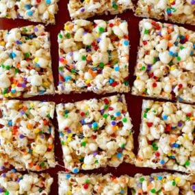 Squares of Funfetti Marshmallow Popcorn Treats