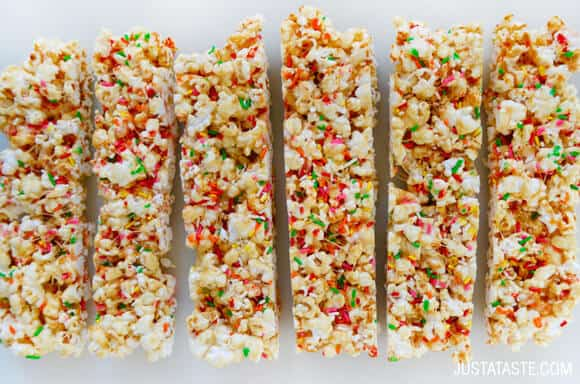 Funfetti Marshmallow Popcorn Treats recipe on justataste.com