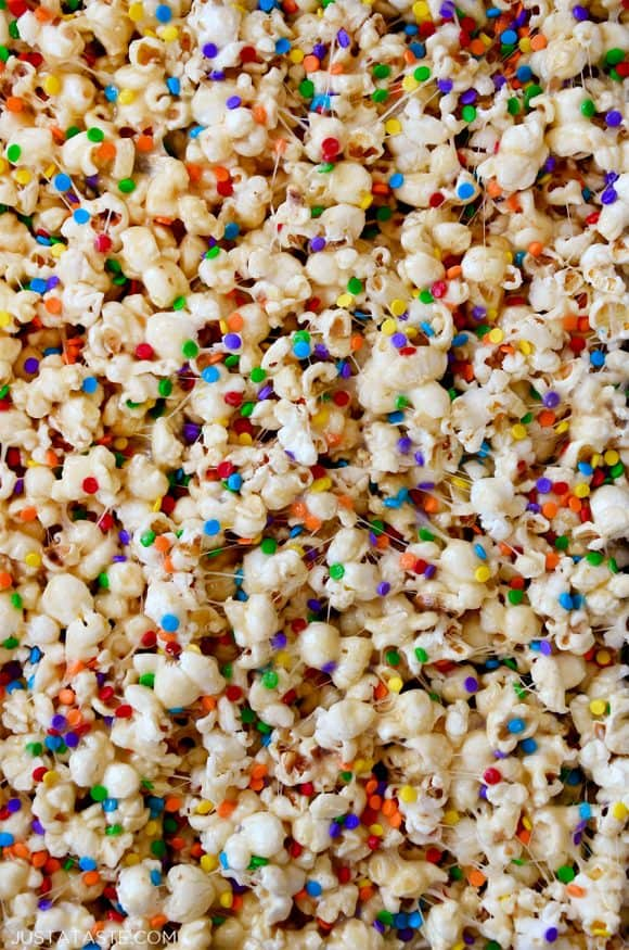 Closeup view of marshmallow popcorn snack with sprinkles