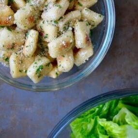 Baked Parmesan Garlic Pizza Dough Croutons Recipe on justataste.com