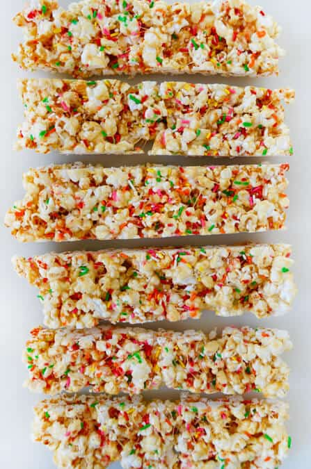 Funfetti Marshmallow Popcorn Treats recipe on justataste.com
