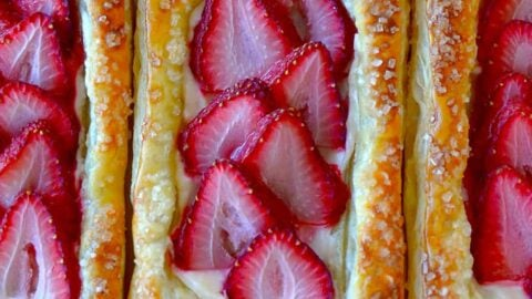 Top down view of 5-Ingredient Strawberry Breakfast Pastries side by side