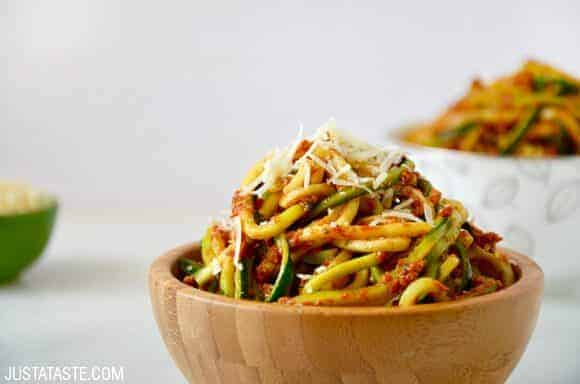 Spiralizer Recipes: Zucchini Noodles with Sun-Dried Tomato Pesto recipe on justataste.com
