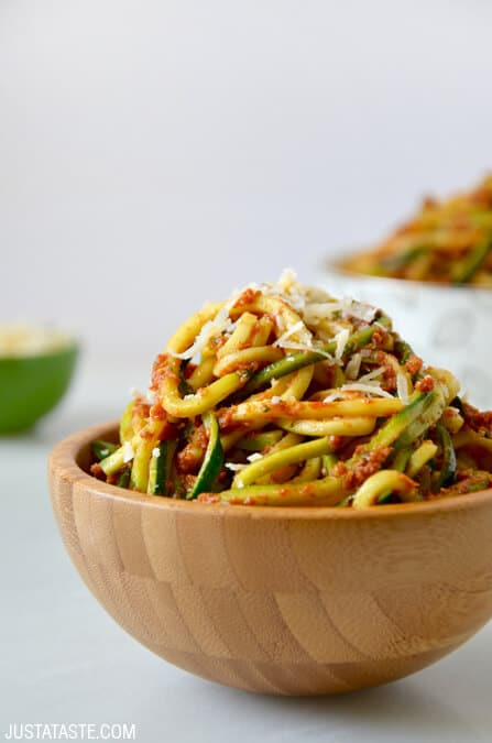 Zucchini Noodles with Sun-Dried Tomato Pesto recipe on justataste.com