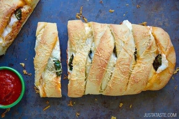 Easy Cheesy Chicken Stromboli recipe from justataste.com