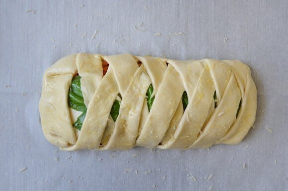 Easy Cheesy Chicken Stromboli recipe from justataste.com