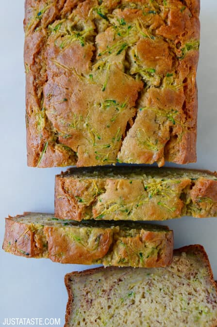 Zucchini Banana Bread recipe via justataste.com