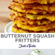 Top image: A close-up view of a tall stack of Butternut Squash Fritters topped with sour cream and chives. Bottom image: A tall stack of Butternut Squash Fritters topped with sour cream and chives with another stack out of focus in the background.