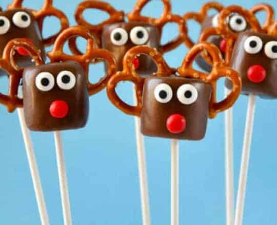 Chocolate Reindeer Marshmallow Pops