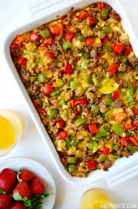 Overnight Egg Casserole with Breakfast Sausage Recipe