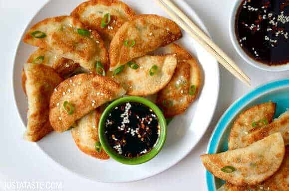 Takeout Recipes: Easy Chicken Potstickers with Soy Dipping Sauce Recipe