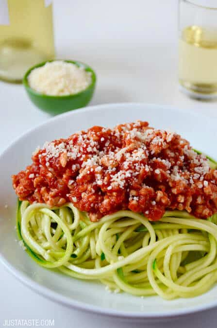 Just a Taste Zucchini Noodles with Turkey Bolognese