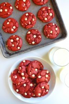 Red Velvet Chocolate Chip Cake Mix Cookies