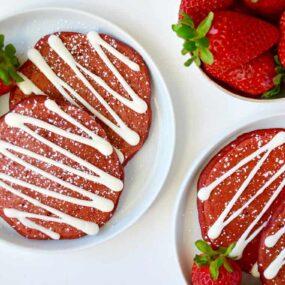 Red Velvet Pancakes with Cream Cheese Glaze Recipe