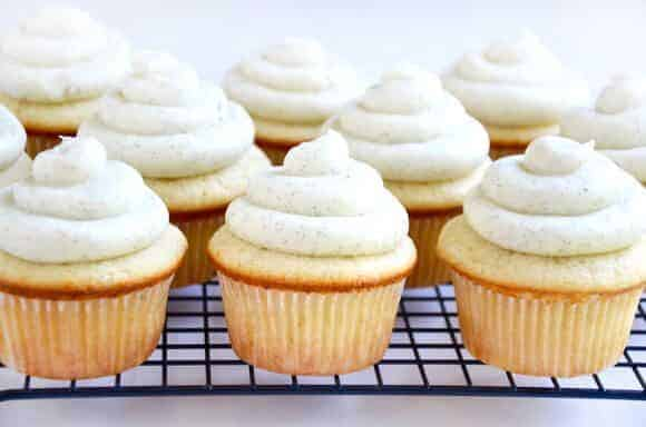 Vanilla Bean Cupcakes with Buttercream Frosting | Just a Taste
