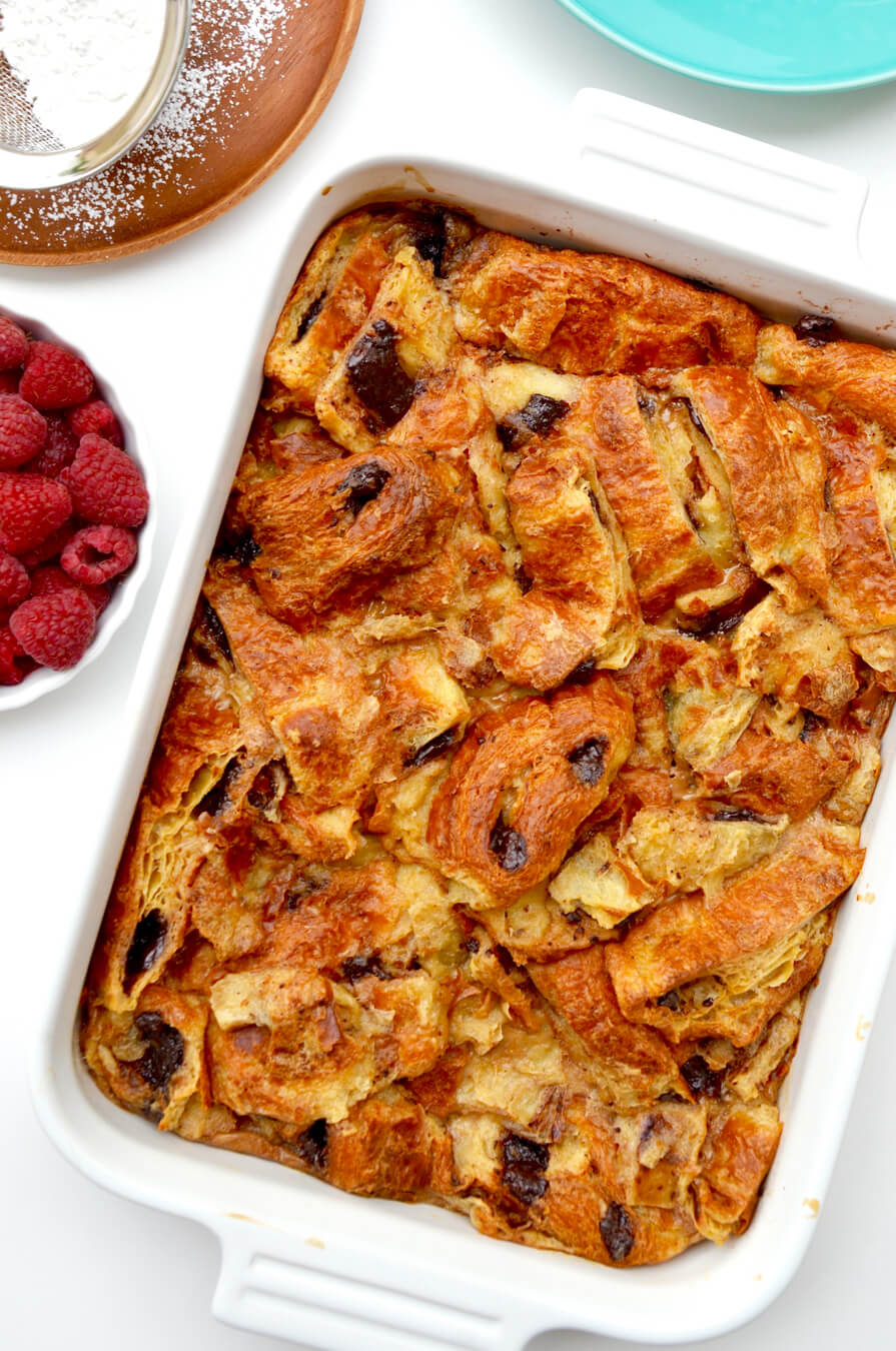 Chocolate Croissant Bread Pudding | Just a Taste