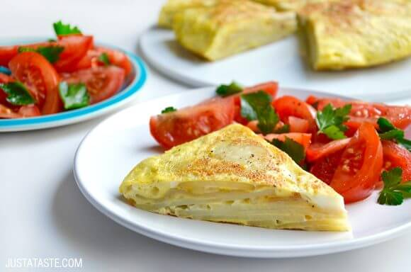 Spanish Tortilla with Tomato Salad Recipe