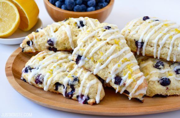 Just a Taste | Glazed Lemon Blueberry Scones