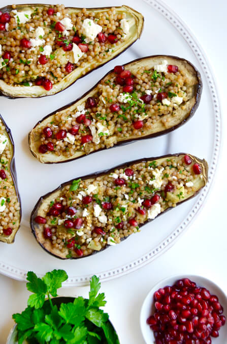 Stuffed Eggplant with Israeli Couscous