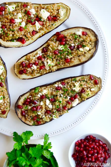 Stuffed Eggplant with Israeli Couscous Recipe