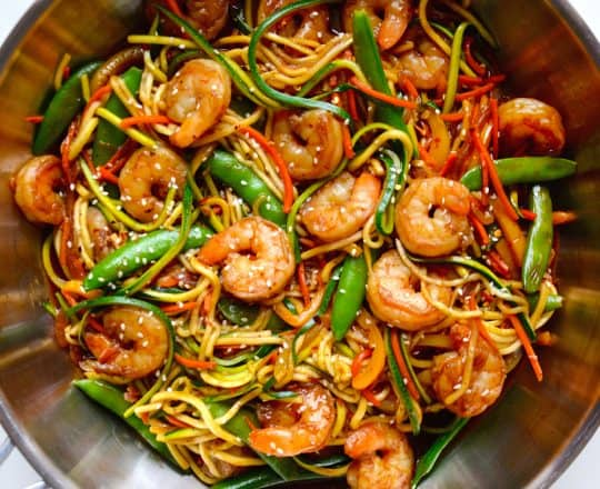 MONDAY: Asian Zucchini Noodle Stir-Fry with Shrimp