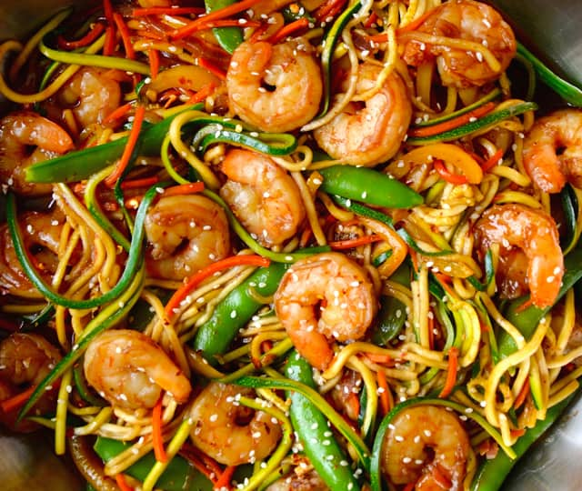 FRIDAY: Asian Zucchini Noodle Stir-Fry with Shrimp