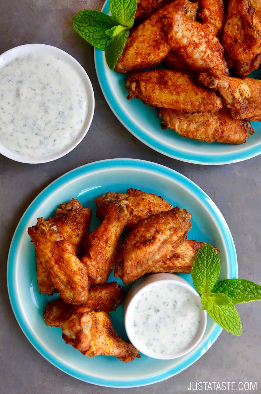 MONDAY: Crispy Baked Moroccan Chicken Wings with Yogurt Dip