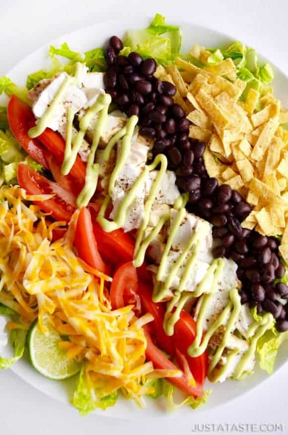 Just A Taste Fish Taco Salad With Avocado Dressing