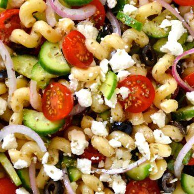 WEDNESDAY: Greek Pasta Salad with Red Wine Vinaigrette