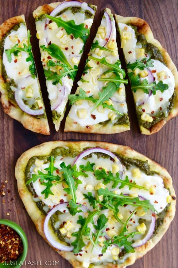 Grilled Flatbread Pizzas with Avocado Pesto Photo