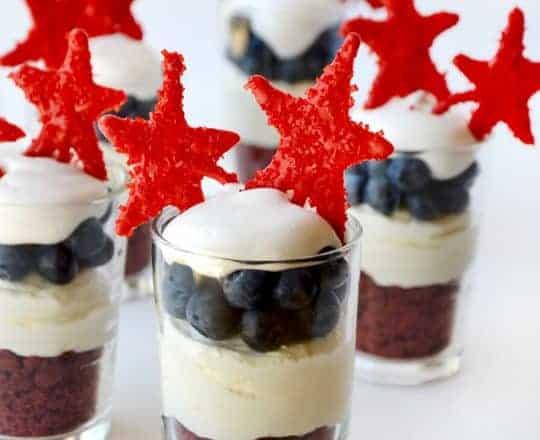Red, White and Blue No-Bake Cheesecake Parfaits