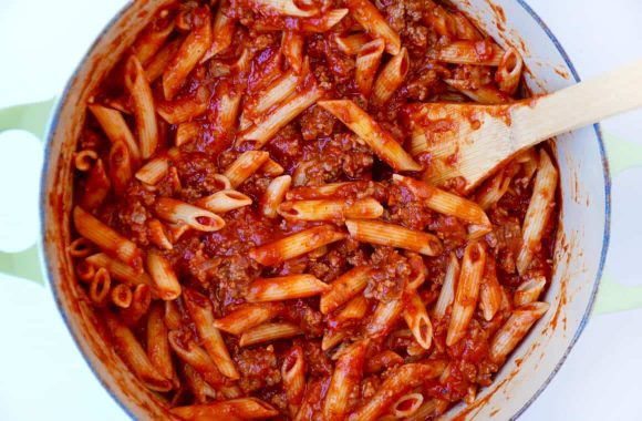 Cheesy Baked Penne Pasta with Sausage Recipe
