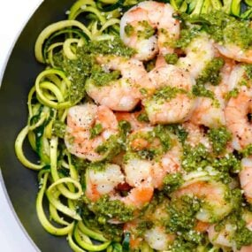Pesto Zucchini Noodles with Shrimp Recipe