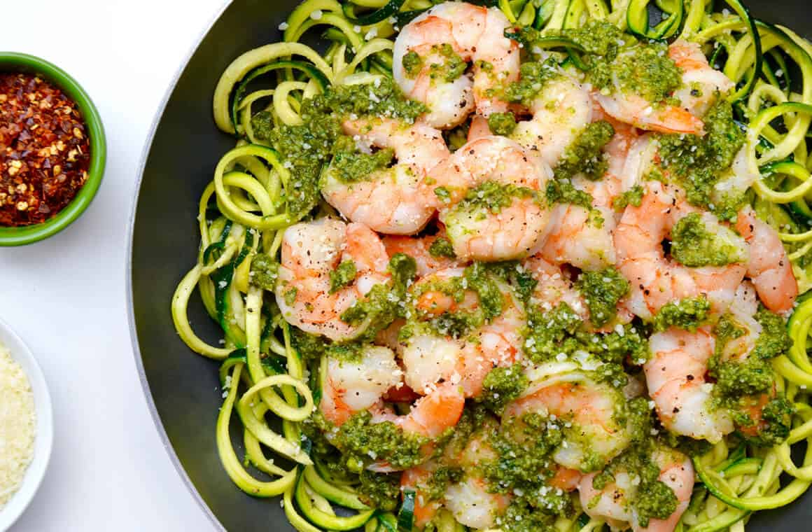 TUESDAY: Pesto Zucchini Noodles with Shrimp