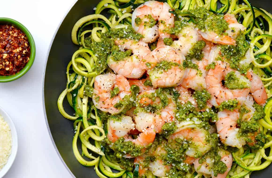 TUESDAY: Pesto Zucchini Noodles with Shrimp