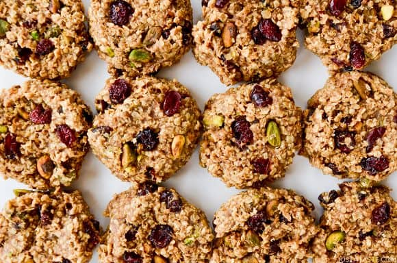 Homemade Healthy Breakfast Cookies with dried cranberries and pistachios