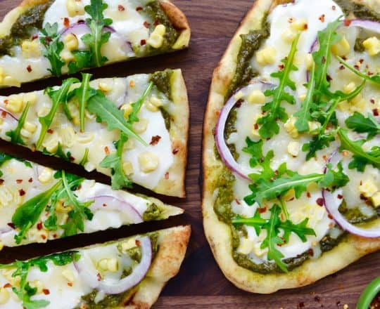 Grilled Flatbread Pizzas with Avocado Pesto