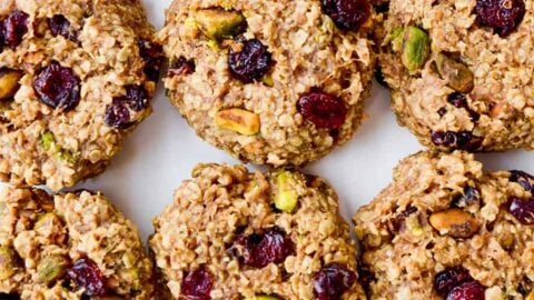 Top down view of Healthy Breakfast Cookies studded with pistachios and dried cranberries