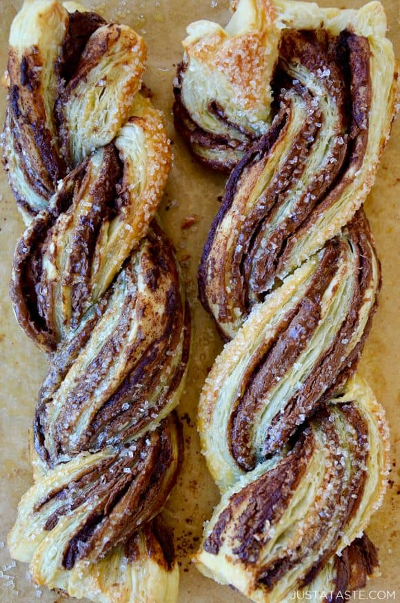 A close-up of Nutella twists made with puff pastry and sanding sugar on top