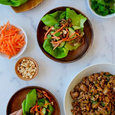 Top down view of 30-Minute Chinese Chicken Lettuce Wraps