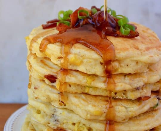 Sweet Corn Pancakes with Bacon