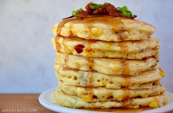 The best sweet corn pancakes with bacon topped with warm maple syrup