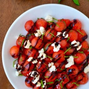 Watermelon Salad with Balsamic Syrup Recipe
