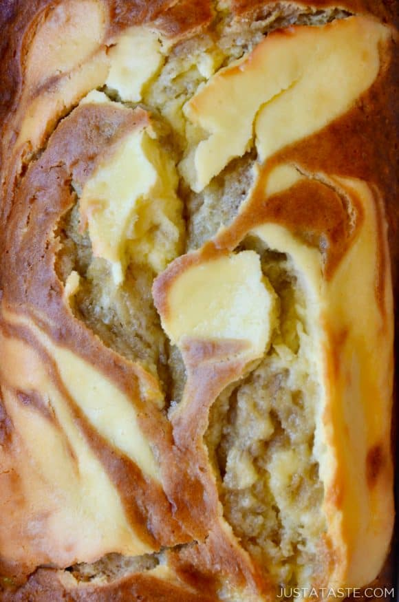 Close up photo of cream cheese banana bread with swirls