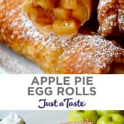 Top image: Juicy apple pie filing tucked inside an egg roll wrapper that's been fried to golden brown perfection and dusted with powdered sugar. Bottom image: Apple Pie Egg Rolls piled high on a plate and dusted with powdered sugar.