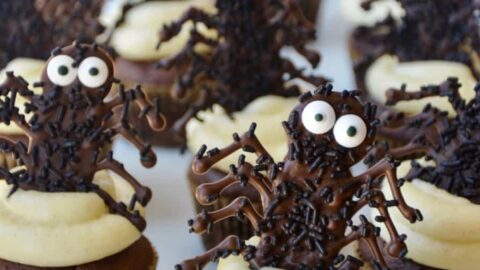 easy halloween cupcakes with chocolate spiders just a taste - Halloween Chocolate Spiders
