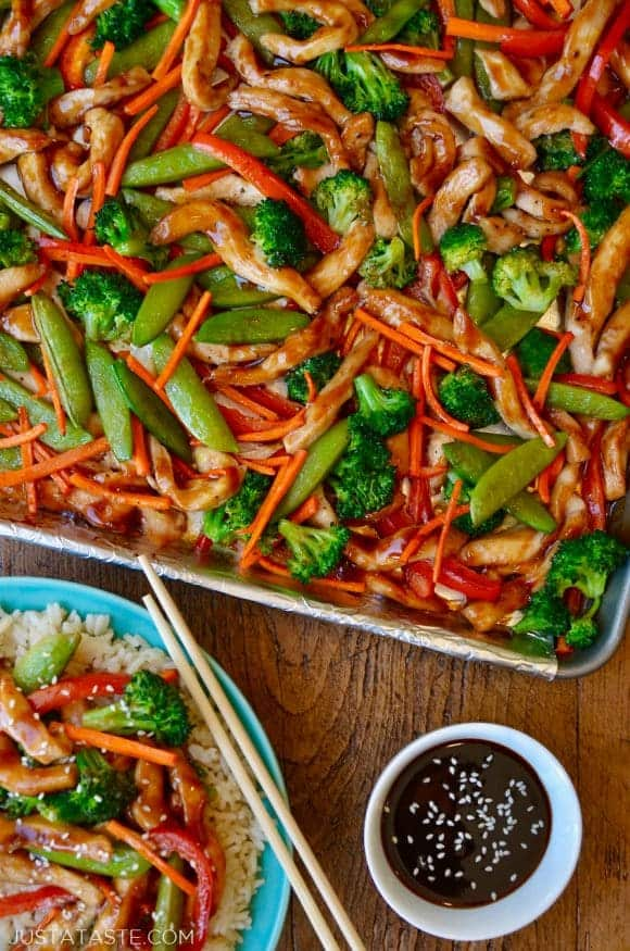 Sheet pan chicken teriyaki and veggies just a taste a sheet pan with chicken teriyaki and vegetable next to a plate forumfinder Images